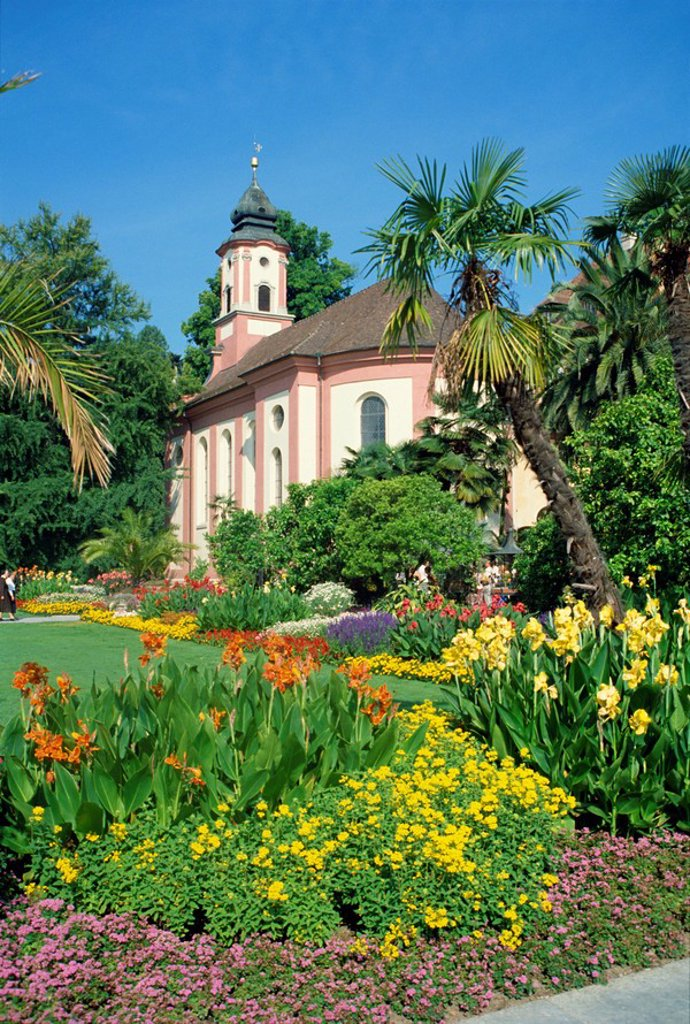 Stock Photo: 1890-6457 Church and gardens on Insel Mainau in Bavaria, Germany, Europe
