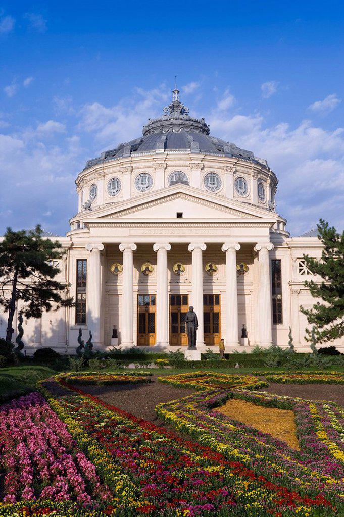 Piata George Enescu, Romanian Athenaeum Concert Hall, Bucharest, Romania, Europe : Stock Photo