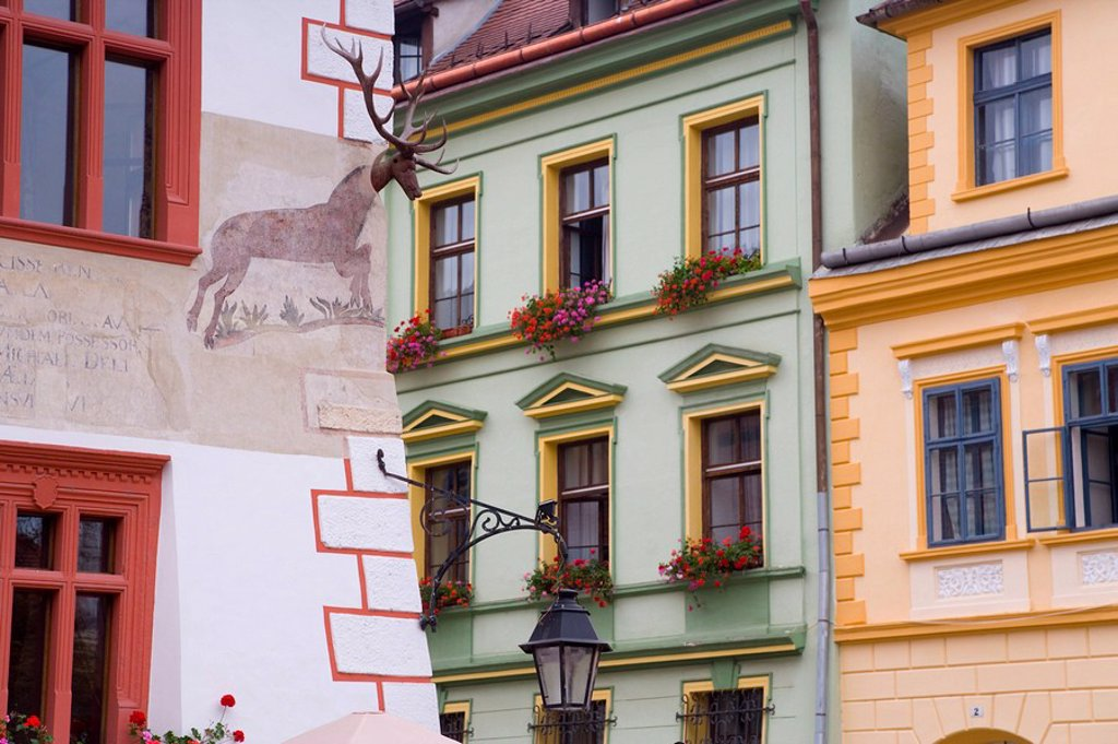 Stock Photo: 1890-64659 Piata Cetatii, detail of houses in the central square, lined with 16th century burgher houses in the medieval citadel, Sighisoara, UNESCO World Heritage Site, Transylvania, Romania, Europe