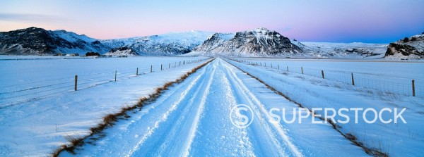 Road and mountains near Vik in winter, Iceland, Polar Regions : Stock Photo