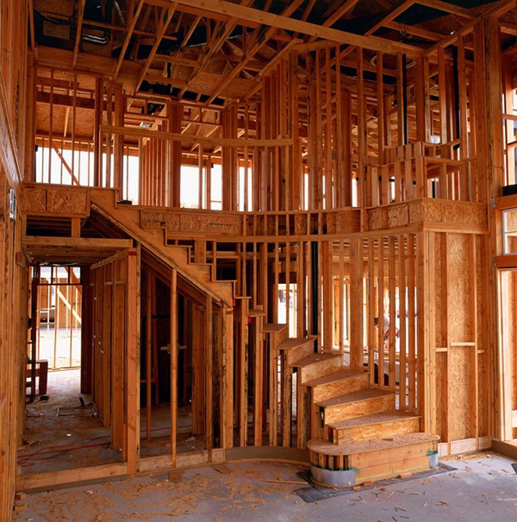 Interior of a wood framed house under construction in California, United States of America, North America : Stock Photo
