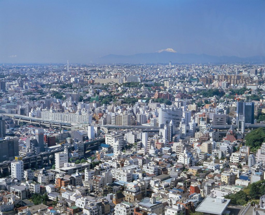 Stock Photo: 1890-64880 City skyline with Mount Fuji in the distance, Tokyo, Honshu, Japan, Asia
