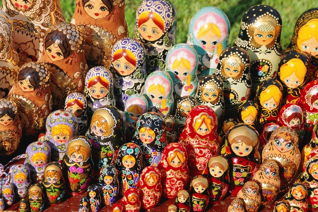 Matryoschka russian dolls, Moscow, Russia : Stock Photo