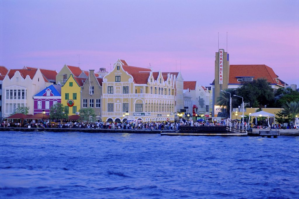 Stock Photo: 1890-65184 Colonial gabled waterfront buildings, Willemstad, Curacao, Caribbean, West Indies