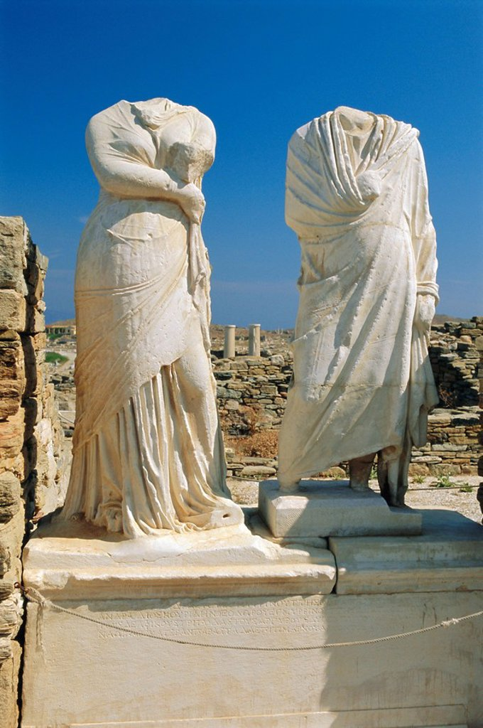 Statues of Cleopatra and Dioscrides, Delos, Cyclades Islands, Greece, Europe : Stock Photo