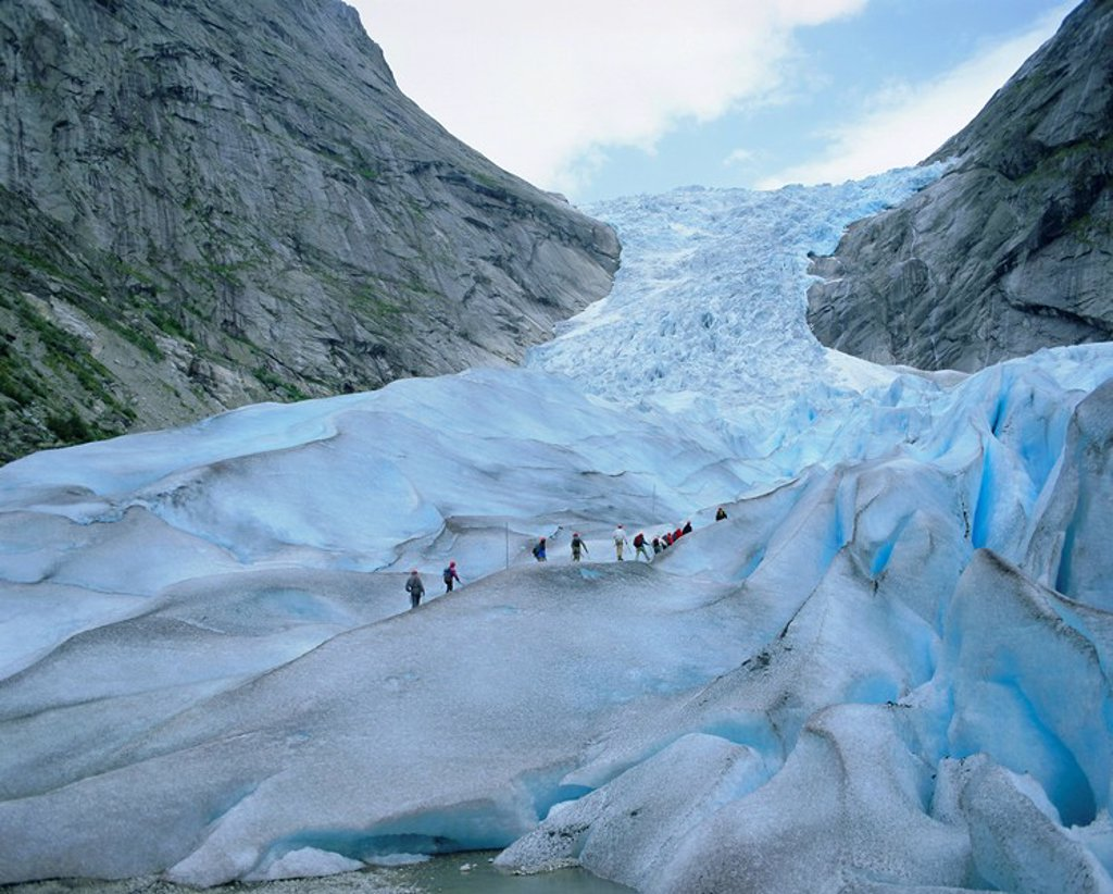 Glacier climbing tour, Briksdalsbreen Glacier, Western Fjords, Norway, Scandinavia, Europe : Stock Photo