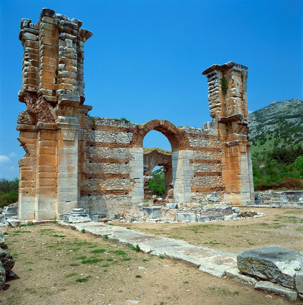 Stock Photo: 1890-6530 Ruins of gateway and wall in the town built for Octavia over the assassins of Julius Caesar in 42 BC, at Philippi Filipi, Greece, Europe