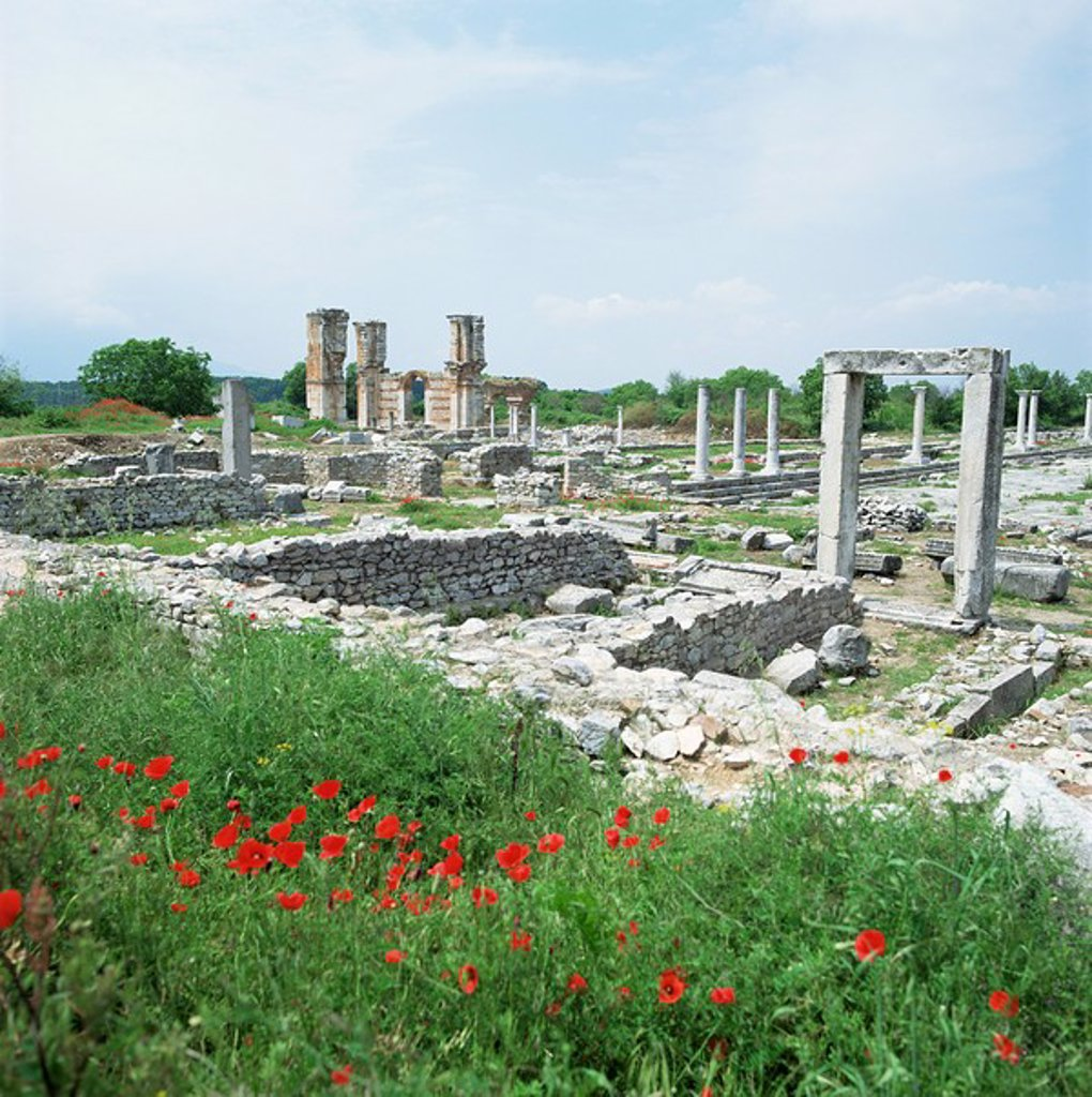 Stock Photo: 1890-6531 Town built for Octavia over the assassins of Julius Caesar in 42 BC, Philippi Filipi, Greece, Europe