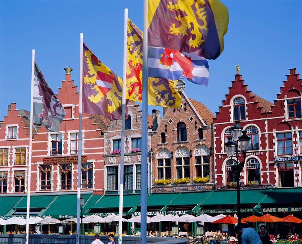 Cafes in the main town square, Bruges, Belgium : Stock Photo