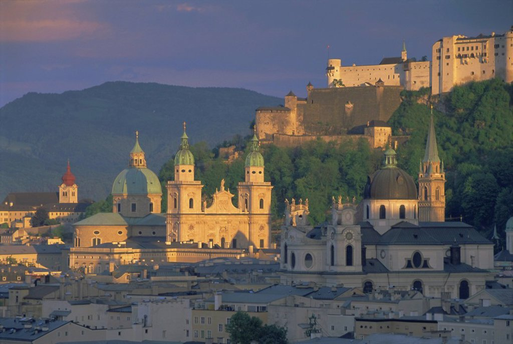Stock Photo: 1890-65454 Elevated view of Kollegienkirche and cathedral domes, Salzburg, UNESCO World Heritage Site, Austria, Europe