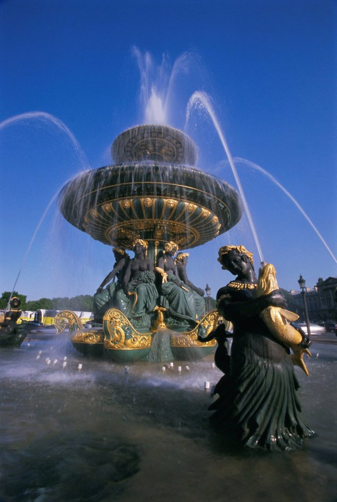 Fountain in Place de la Concorde, Paris, France, Europe : Stock Photo