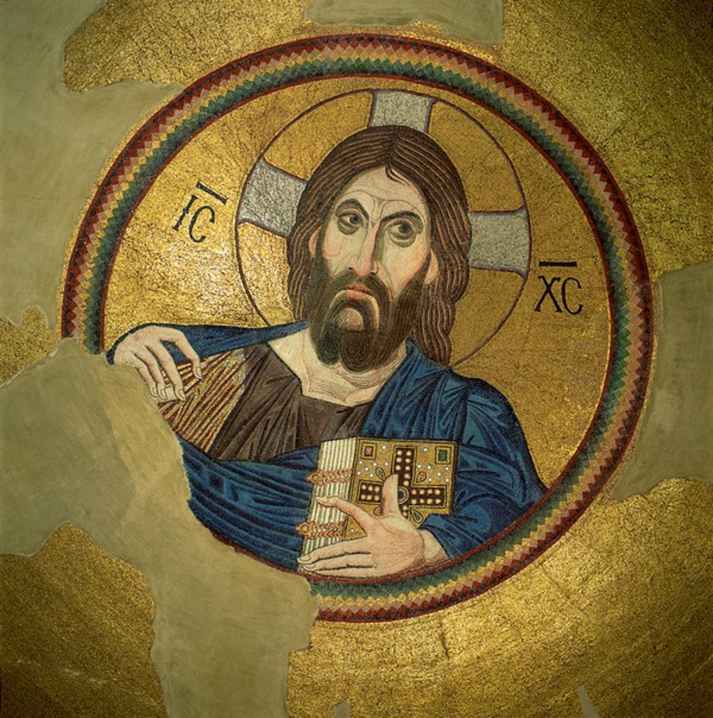 Stock Photo: 1890-6562 Mosaic of the Almighty, Pantocrator, in the Monastery of Daphni, Greece, Europe