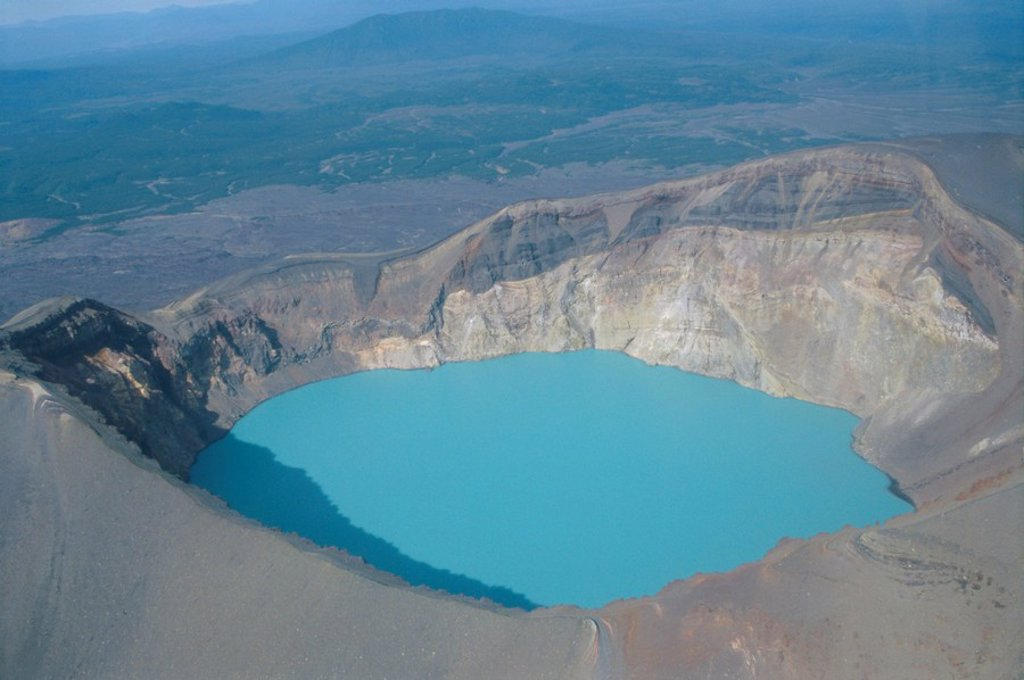 Stock Photo: 1890-65781 Malyi Semyachik volcano, acid lake inside summit crater, Kamchatka, East Siberia, Russia