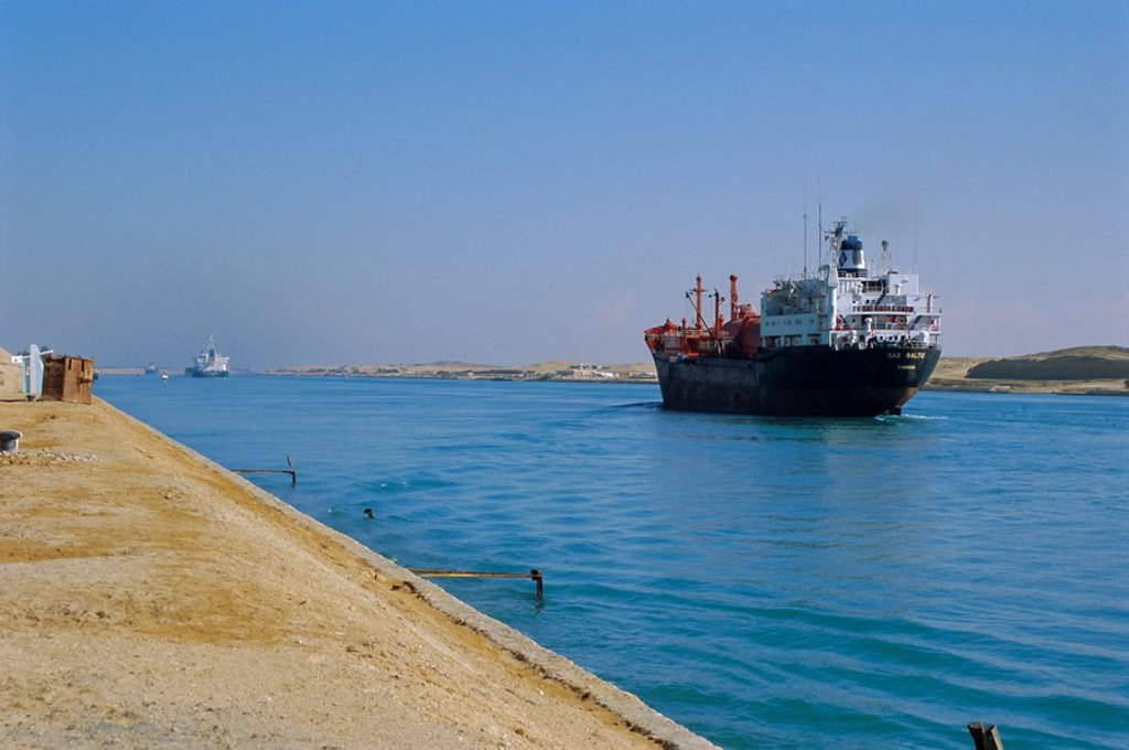 Stock Photo: 1890-65799 Northbound freighter on the Suez Ship Canal, Suez, Egypt, North Africa