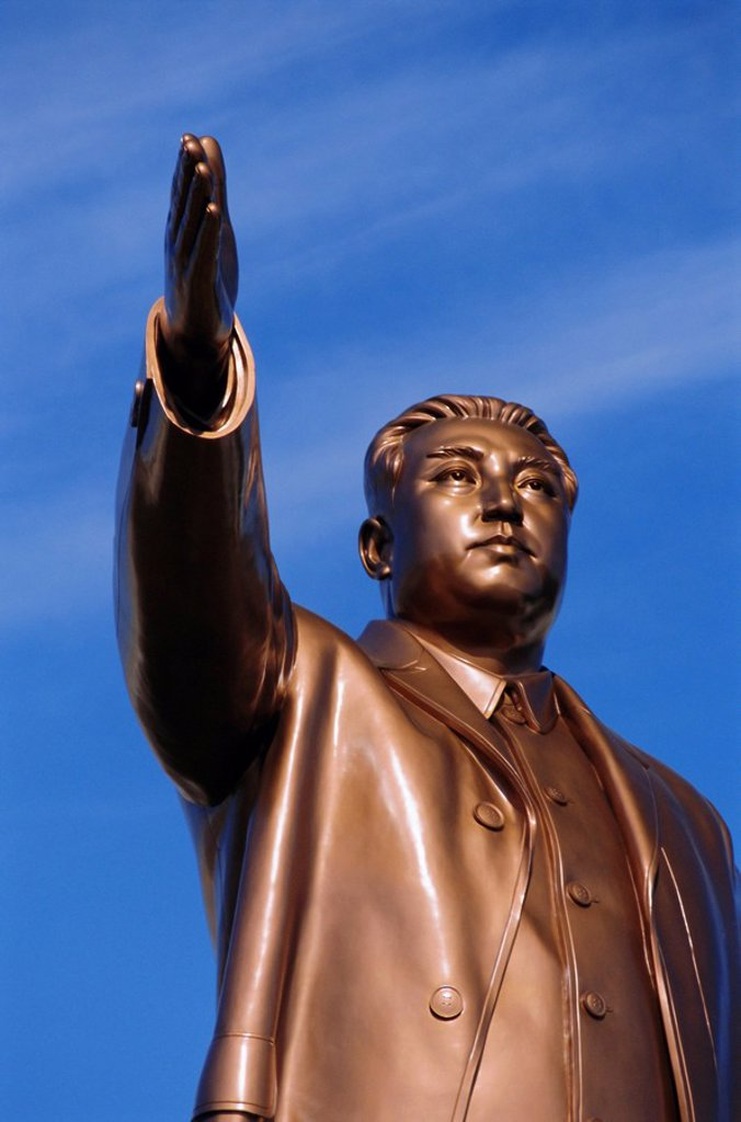 Stock Photo: 1890-65811 Bronze statue, 30m high, of Great Leader, Mansudae Hill Grand Monument, Pyongyang, North Korea, Asia