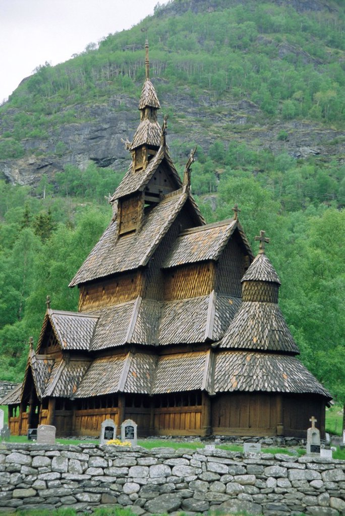 Stave church, Borgund, Western Fjordlands, Norway, Scandinavia, Europe : Stock Photo