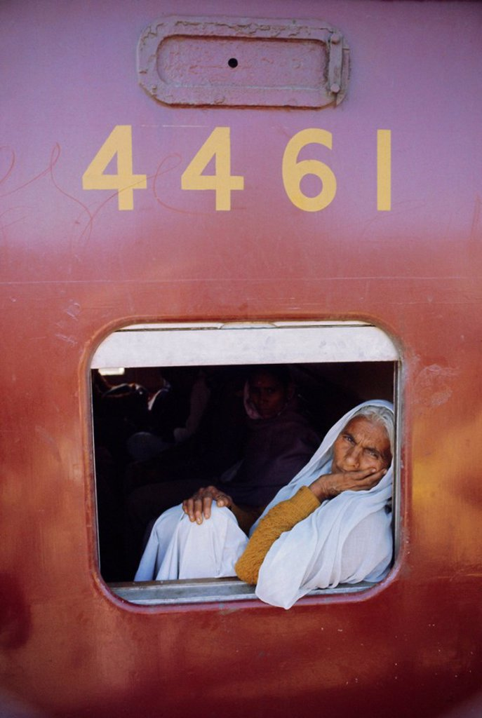 Woman on a train at the railway station, Bhopal, Madhya Pradesh State, India, Asia : Stock Photo