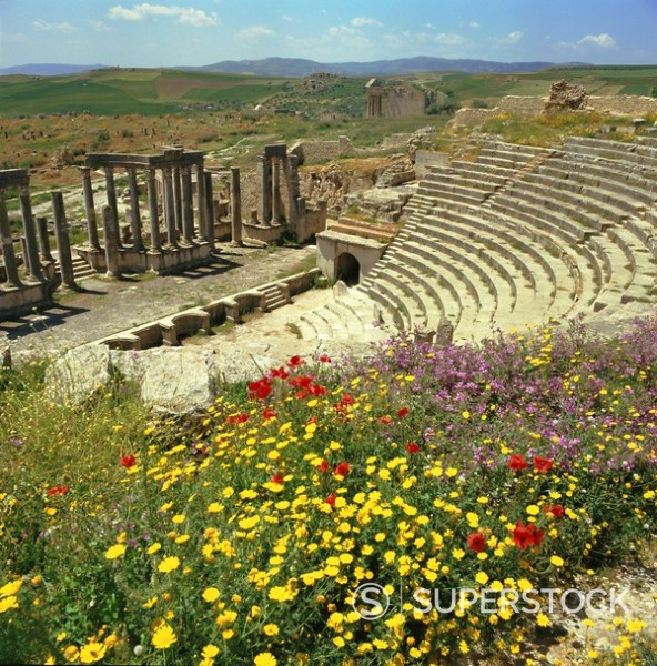 Stock Photo: 1890-66017 Roman theatre at Dougga, Tunisia