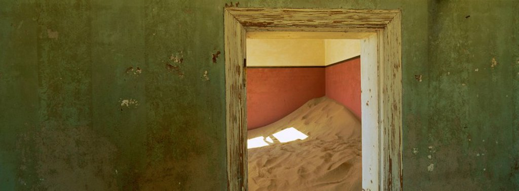 Stock Photo: 1890-66337 Interior of German house in the deserted mining town of Kolmanskop in the Restricted Diamond area on the south west coast, near the town of Luderitz, Namibia, Africa