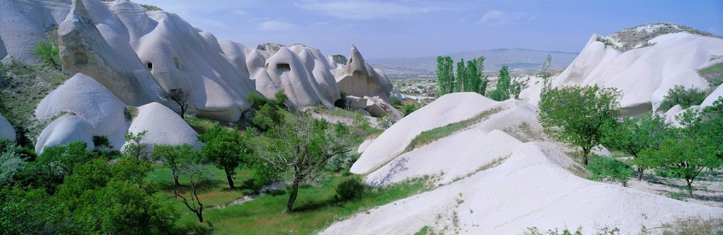 Panoramic view of tufa formations near the town of Uchisar, Cappadocia, Anatolia, Turkey, Asia Minor, Asia : Stock Photo