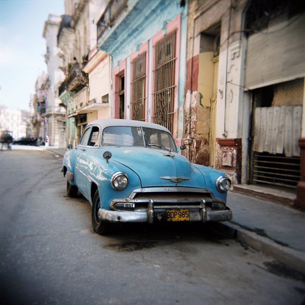 Old blue American car, Cienfugeos, Cuba, West Indies, Central America : Stock Photo
