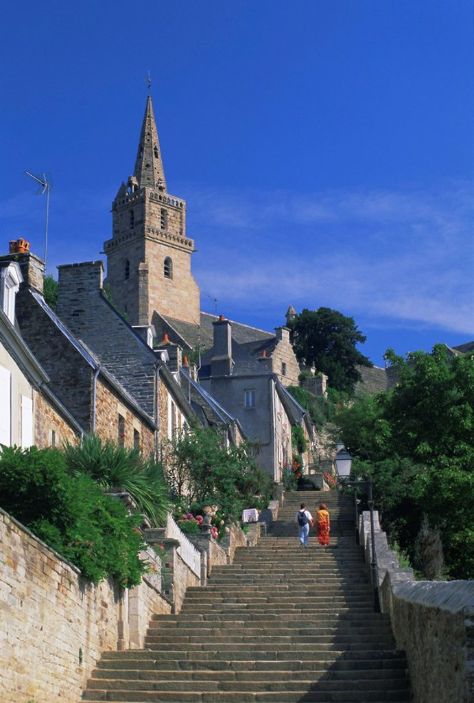 Stock Photo: 1890-67298 The Brelevenez church and steps, Lannion, Cotes d´Armor, Brittany, France, Europe