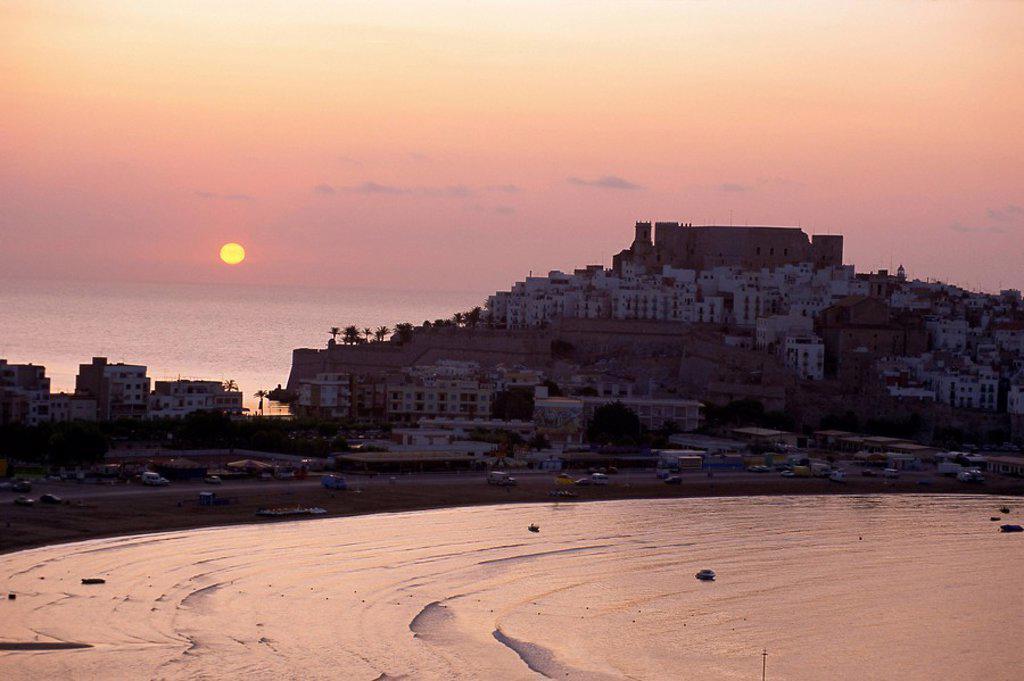 Stock Photo: 1890-67424 Sunrise over the citadel and castle, Peniscola, Costa del Alzahar, Valencia, Spain, Mediterranean, Europe