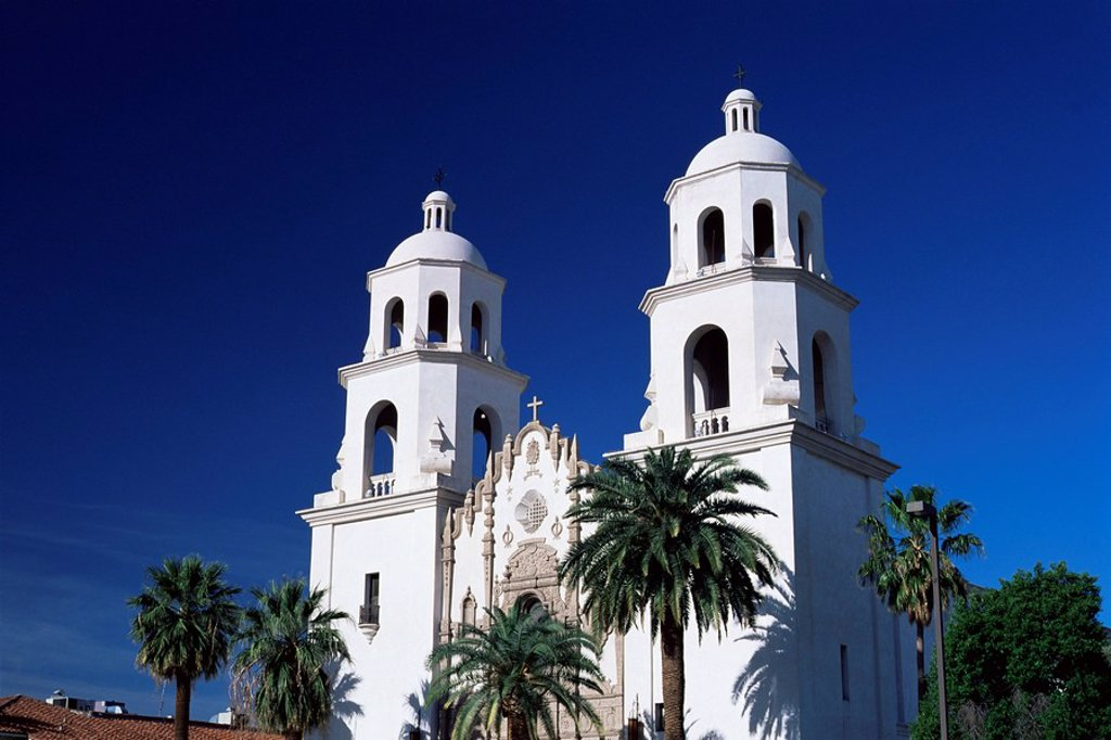 The twin towers of St. Augustine Cathedral, Tucson, Arizona, United States of America U.S.A., North America : Stock Photo
