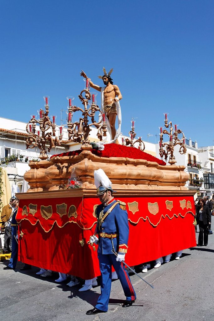 Float of resurrected Jesus, Easter Sunday procession at the end of Semana Santa Holy Week, Ayamonte, Andalucia, Spain, Europe : Stock Photo