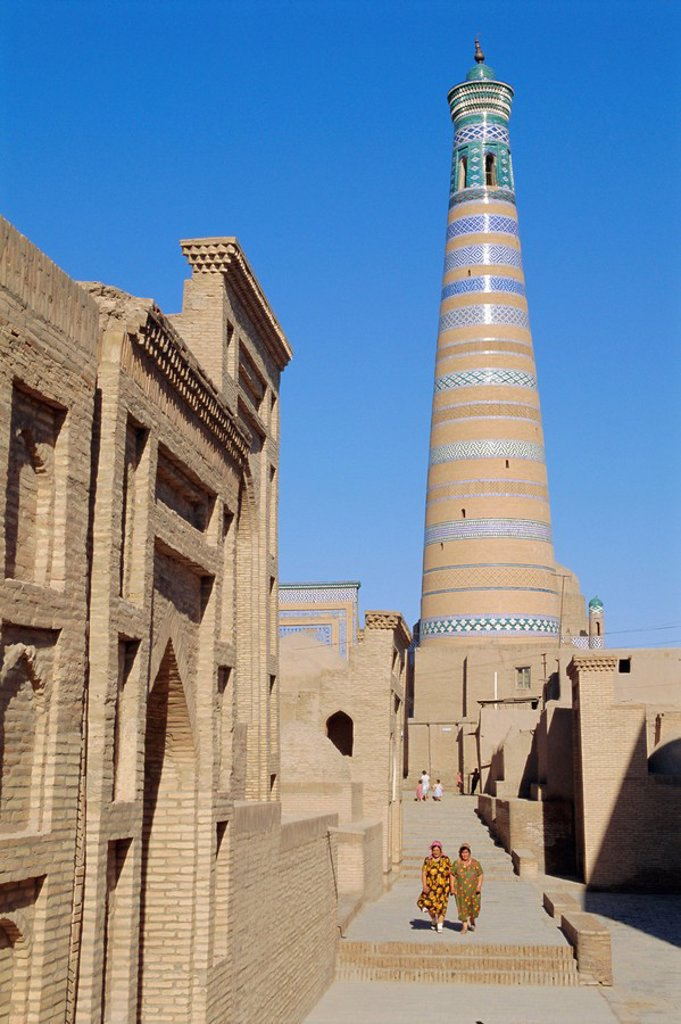 Stock Photo: 1890-68086 Islam Khodja minaret, Prince Makhmud mausoleum on left, Khiva, Uzbekistan, Central Asia