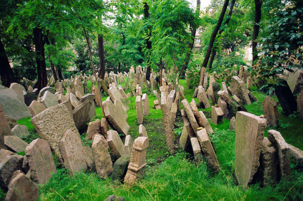 Old Jewish cemetery, Josefov, Prague, Czech Republic, Europe : Stock Photo