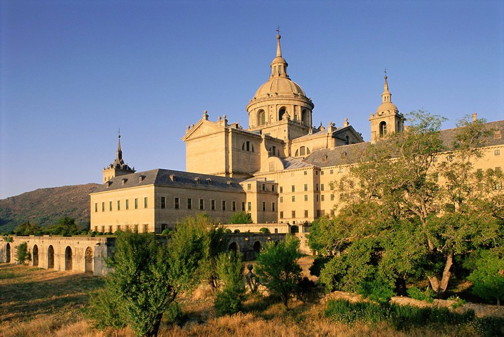 Stock Photo: 1890-68161 Eastern facade of the monastery palace of El Escorial, UNESCO World Heritage Site, Madrid, Spain, Europe