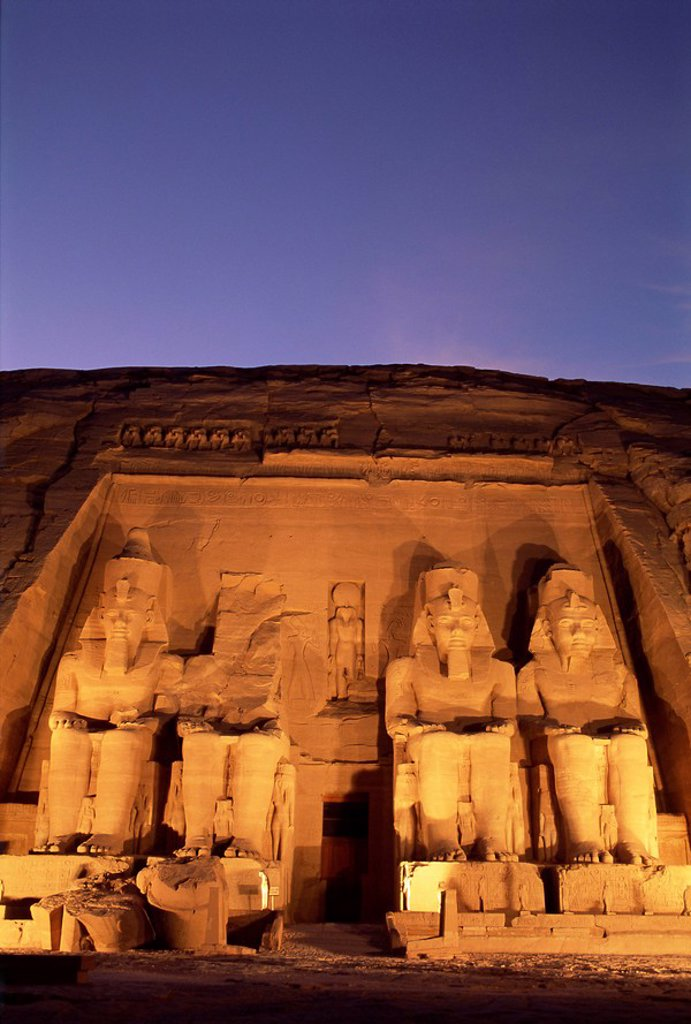 Stock Photo: 1890-68186 Floodlit temple facade and colossi of Ramses II Ramesses the Great, Abu Simbel, UNESCO World Heritage Site, Nubia, Egypt, North Africa, Africa