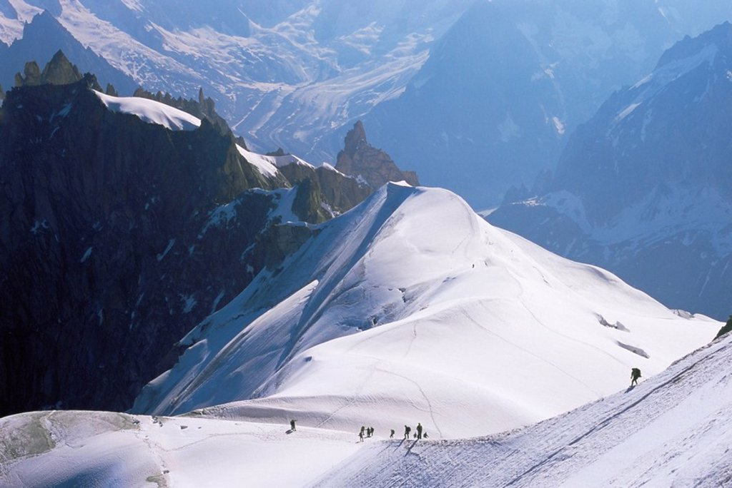 Stock Photo: 1890-68247 View from Mont Blanc towards Grandes Jorasses, with mountaineers on Cosmiques Ridge, Mont Blanc, French Alps, France, Europe