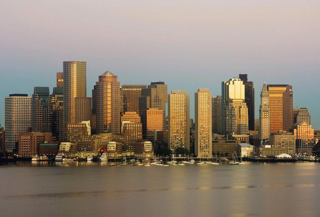 City skyline at dawn, Boston, Massachusetts, USA : Stock Photo
