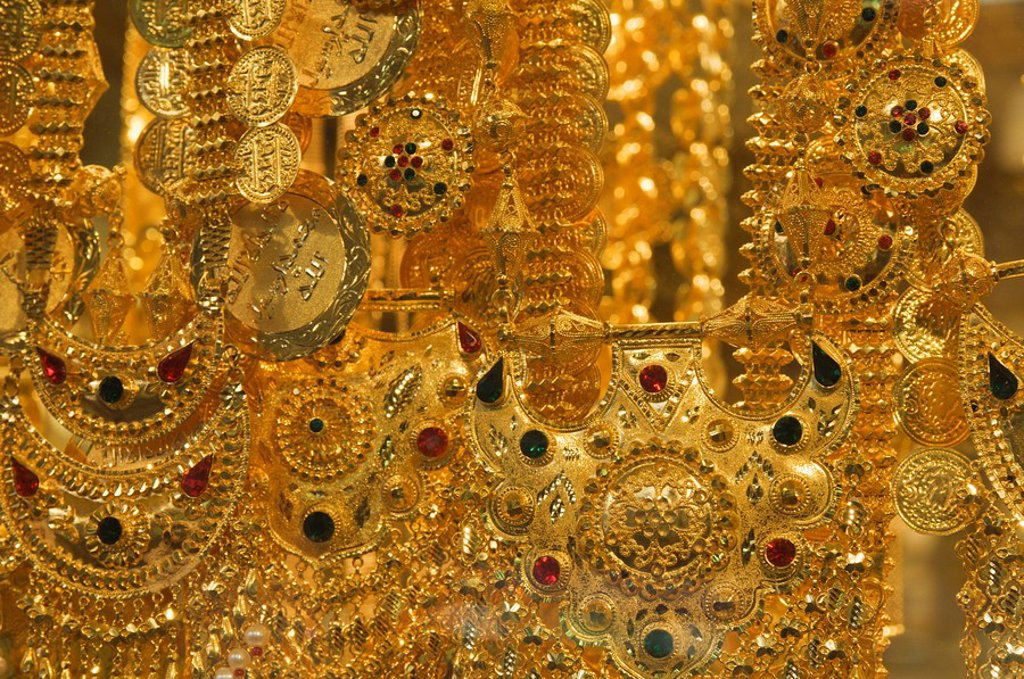 Stock Photo: 1890-68559 Close_up of gold jewelry in the Gold Souk, Deira, Dubai, United Arab Emirates, Middle East