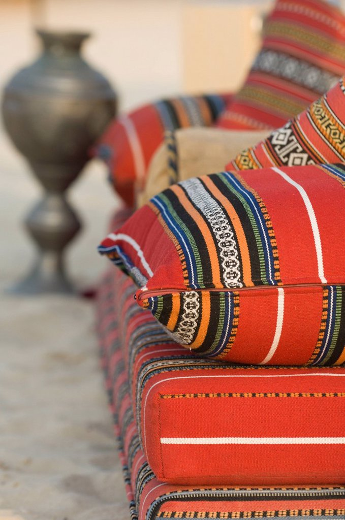 Arabic cushions, Dubai, United Arab Emirates, Middle East : Stock Photo