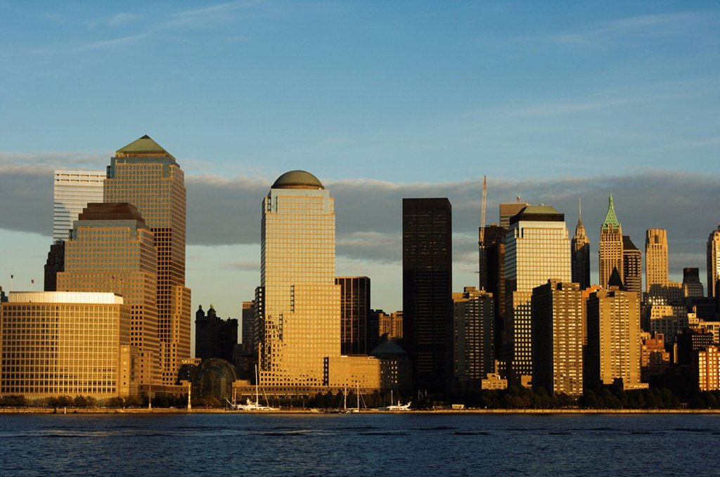 Stock Photo: 1890-68686 World Financial Center Buildings and skyline across the Hudson River, Manhattan, New York City, New York, United States of America, North America