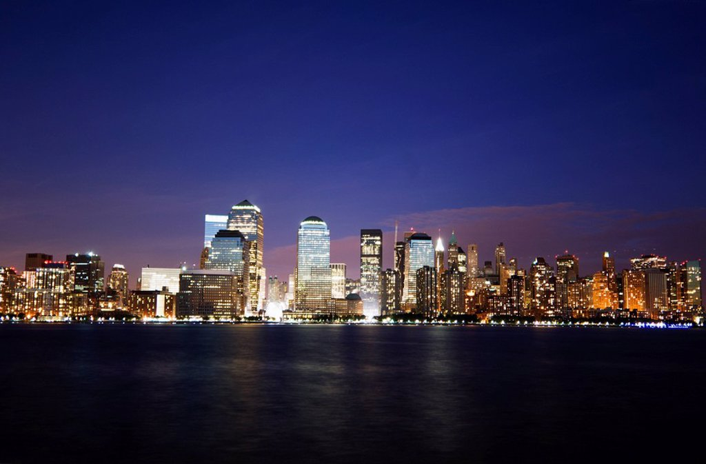 Stock Photo: 1890-68698 Lower Manhattan skyline across the Hudson River, New York City, New York, United States of America, North America