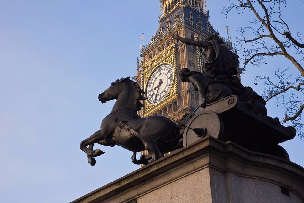 Stock Photo: 1890-68893 Big Ben seen through the statue of Boudica Boadicea, Westminster, London, England, United Kingdom, Europe