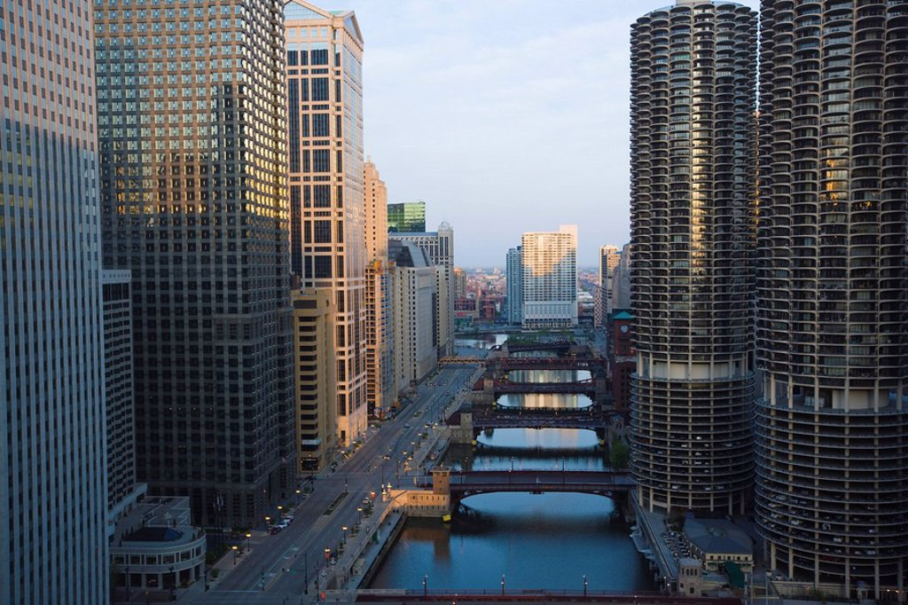 Stock Photo: 1890-68899 Skyscrapers along the Chicago River and West Wacker Drive at dawn, Marina City on the right, Chicago, Illinois, United States of America, North America