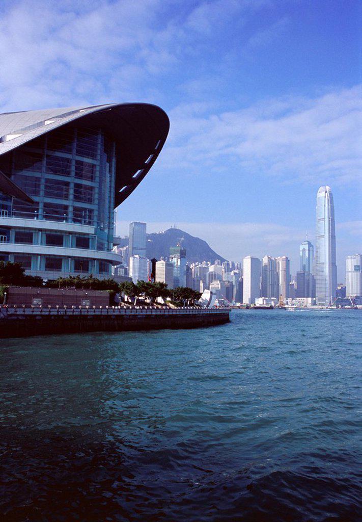 Hong Kong Convention and Exhibition Center, Hong Kong Island, Victoria Harbour, Hong Kong, China, Asia : Stock Photo
