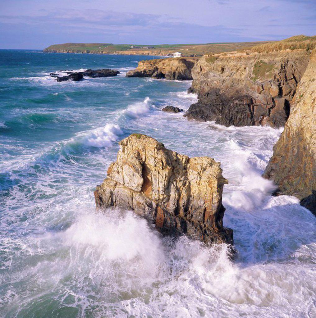 Rocks and sea at Gwithian, Cornwall, England : Stock Photo