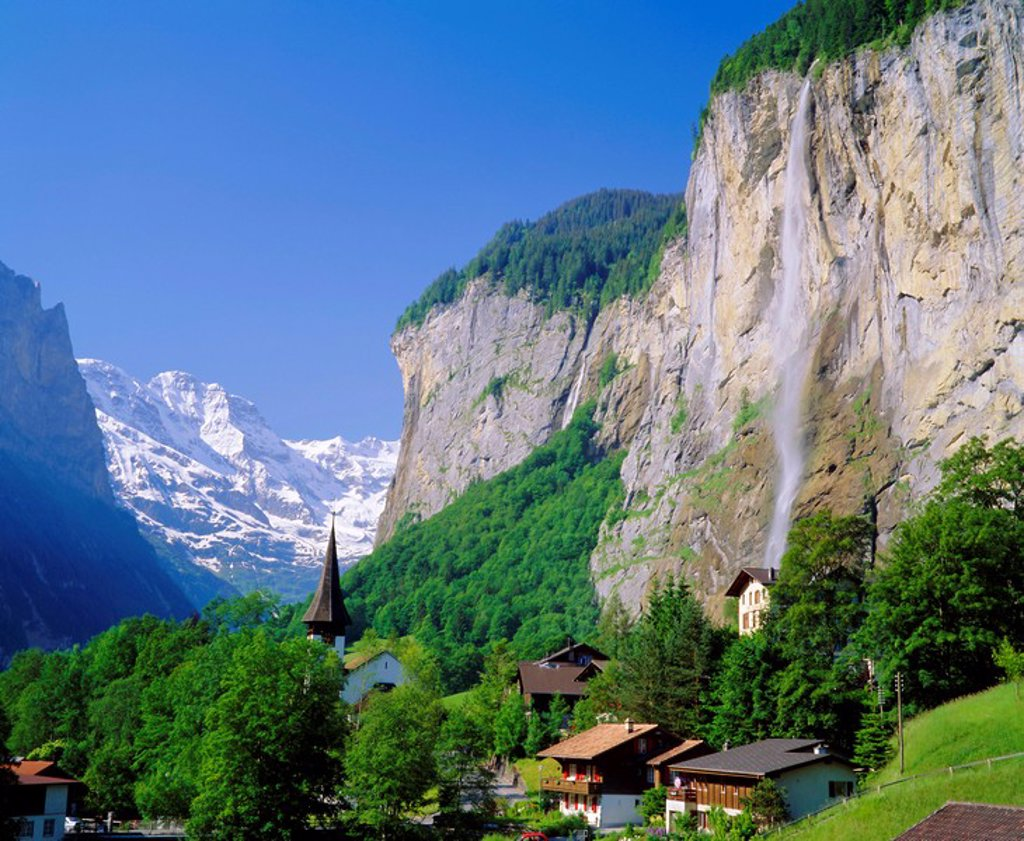 Lauterbrunnen and Staubbach Falls, Jungfrau region, Switzerland : Stock Photo