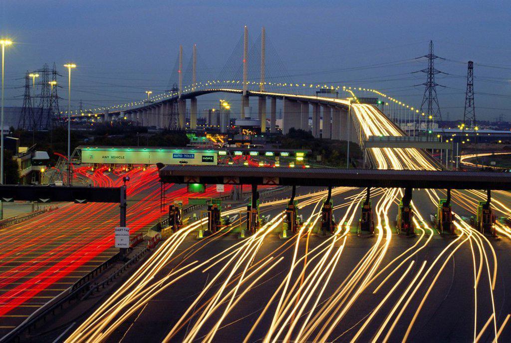 Tollgates on Queen Elizabeth Bridge at night, M25, Dartford, Kent, England, UK, Europe : Stock Photo
