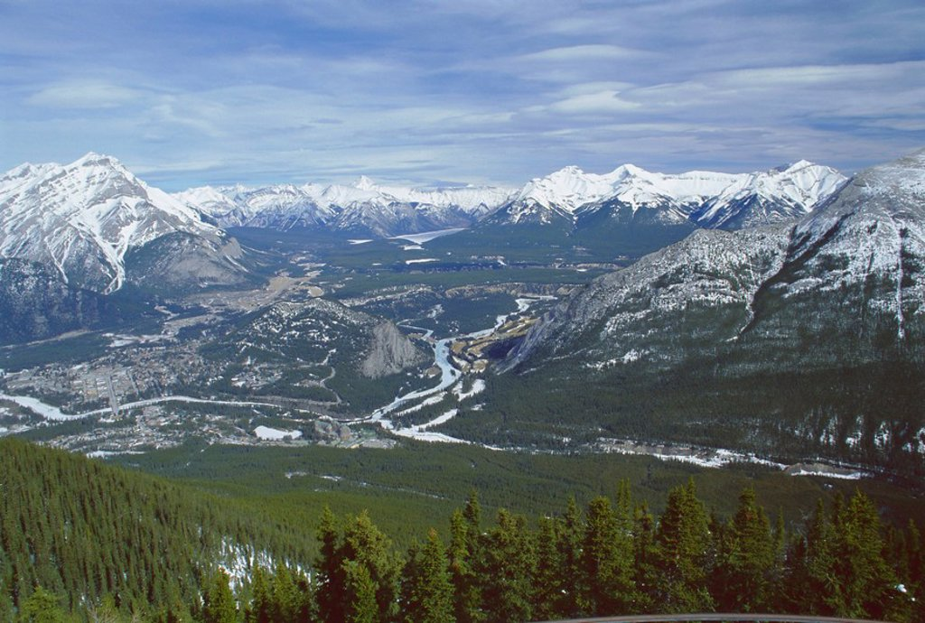 Stock Photo: 1890-70041 View from Sulphur Mountain, Banff, Rocky Mountains, Alberta, Canada, North America