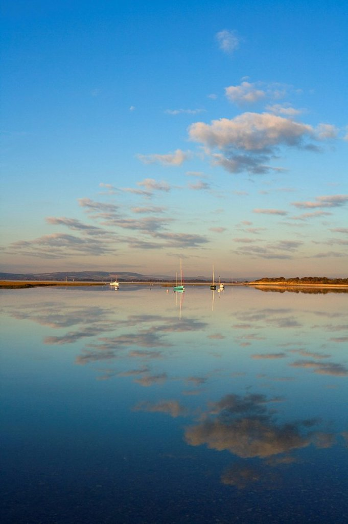Boats moored at East Head, West Wittering, near Chichester, West Sussex, England, United Kingdom, Europe : Stock Photo