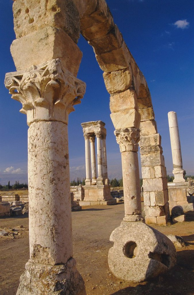 Stock Photo: 1890-70592 The tetrastyle in city centre seen through street arcades, Umayyad Anjar, Lebanon, Middle East