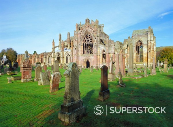 Stock Photo: 1890-70667 12th Century Melrose Abbey, the remains of the C15th church is at the start of St Cuthbert´s Way to Holy Island, Scottish Borders, Scotland