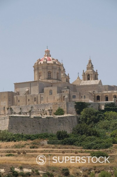 Stock Photo: 1890-71439 Metropolitan Cathedral in Mdina, the fortress city, Malta, Europe